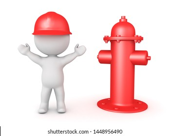 Happy 3D Fireman next to fire hydrant. 3D Rendering isolated on white.