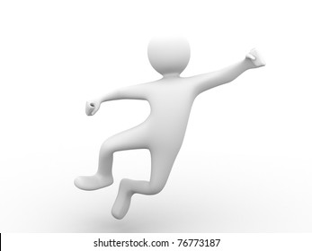 happy 3d person jumping