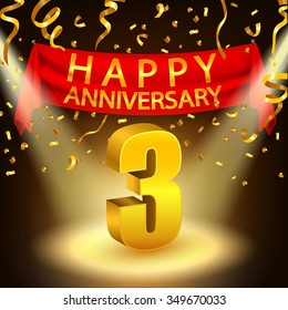 Happy 3rd Anniversary celebration with golden confetti and spotlight