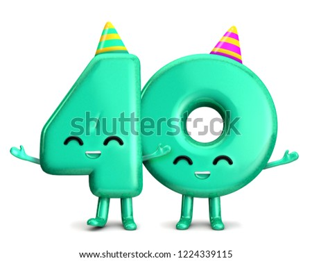 Happy 40th Birthday Cute Party Character With Hat 3D Rendering