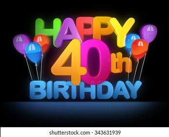 Happy 40th Title in big letters, dark