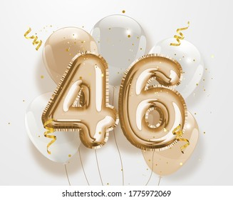 """Happy 46th birthday gold foil balloon greeting background. 46 years anniversary logo template- 46th celebrating with confetti. """"Illustration  3D"""""""