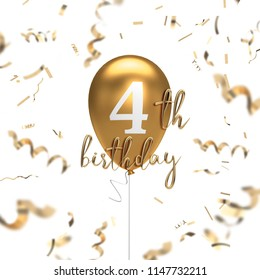 Happy 4th birthday gold balloon greeting background. 3D Rendering