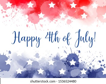 Happy 4th of July! Abstract background with watercolor splashes in flag colors for USA Independence day holiday. Blue and red colored with stars. Template for holiday background, invitation, flyer