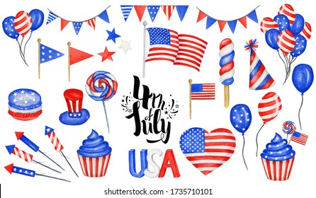 Happy 4th of July USA Independence Day elements set with american national flag, sweets, balloons, hand lettering text design. Celebration party Poster, Banner for sale, advertisement, web template.