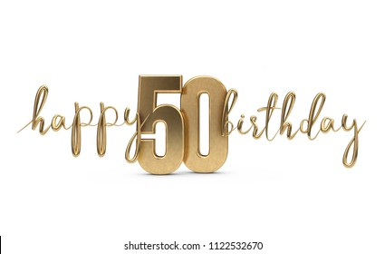 Happy 50th birthday gold greeting background. 3D Rendering