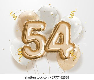 """Happy 54th birthday gold foil balloon greeting background. 54 years anniversary logo template- 54th celebrating with confetti. """"Illustration 3D"""""""