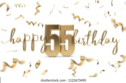 Happy 55th Birthday Gold Greeting Background 3D Rendering