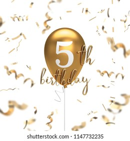 Happy 5th birthday gold balloon greeting background. 3D Rendering