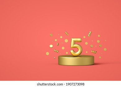 Happy 5th birthday number with festive confetti and spiral ribbons on a golden podium. 3D Render