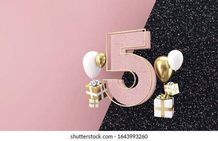 Happy 5th birthday party celebration. Modern marble composition 3D Render