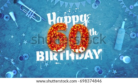 Happy 60th Birthday Card With Beautiful Details