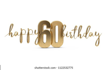 Happy 60th Birthday Gold Greeting Background 3D Rendering