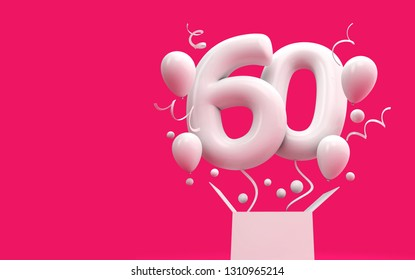 Happy 60th Birthday Surprise Balloon And Box 3D Rendering