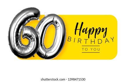 Happy 60th birthday yellow greeting background. 3D Rendering