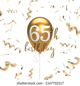 Happy 65th birthday gold balloon greeting background. 3D Rendering