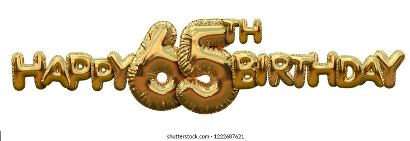 Happy 65th birthday gold foil balloon greeting background. 3D Rendering