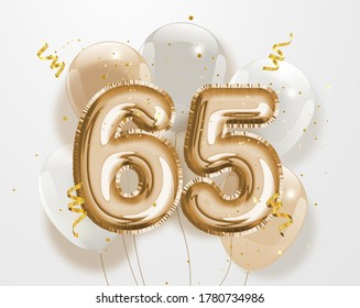 """Happy 65th birthday gold foil balloon greeting background. 65 years anniversary logo template- 65th celebrating with confetti.""""Illustration 3D"""""""