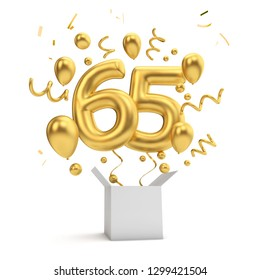 Happy 65th birthday gold surprise balloon and box. 3D Rendering
