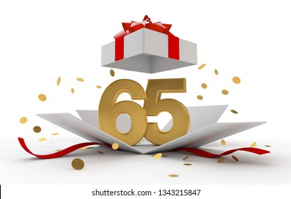 Happy 65th birthday gold surprise boxwith red ribbon. 3D Rendering