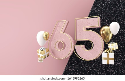 Happy 65th birthday party celebration. Modern marble composition 3D Render