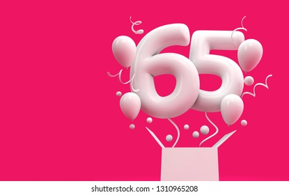 Happy 65th birthday surprise balloon and box. 3D Rendering