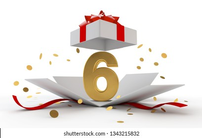 Happy 6th birthday gold surprise boxwith red ribbon. 3D Rendering