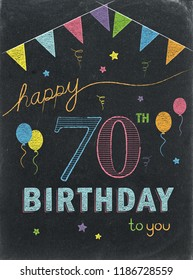 HAPPY 70th BIRTHDAY chalk lettering card