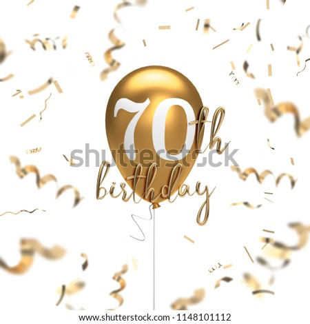 Happy 70th Birthday Gold Balloon Greeting Background 3D Rendering
