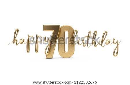 Happy 70th Birthday Gold Greeting Background 3D Rendering