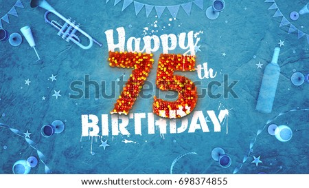Happy 75th Birthday Card With Beautiful Details