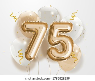 """Happy 75th birthday gold foil balloon greeting background. 75 years anniversary logo template- 75th celebrating with confetti. """"Illustration 3D"""""""