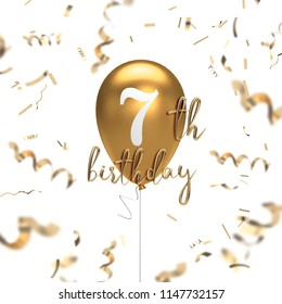 Happy 7th birthday gold balloon greeting background. 3D Rendering