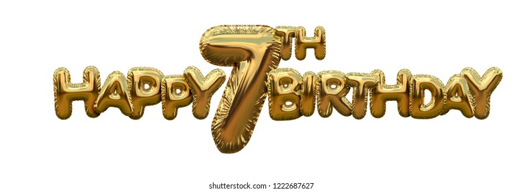 Happy 7th birthday gold foil balloon greeting background. 3D Rendering