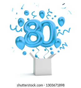 Happy 80th birthday blue surprise balloon and box. 3D Rendering