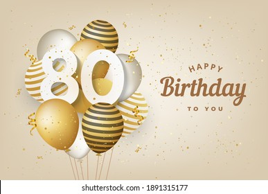 """Happy 80th birthday with gold balloons greeting card background. 80 years anniversary. 80th celebrating with confetti. """"Illustration 3D"""""""