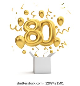 Happy 80th birthday gold surprise balloon and box. 3D Rendering