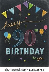 HAPPY 90th BIRTHDAY chalk lettering card