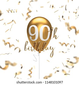 Happy 90th birthday gold balloon greeting background. 3D Rendering