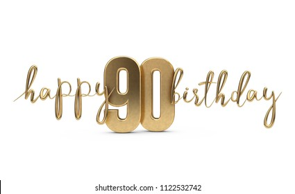 Happy 90th Birthday Gold Greeting Background 3D Rendering