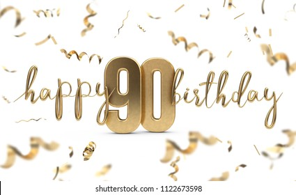Happy 90th birthday gold greeting background. 3D Rendering