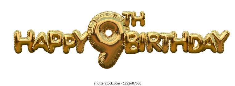 Happy 9th birthday gold foil balloon greeting background. 3D Rendering
