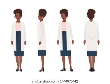Happy african american woman dressed in casual clothing isolated on white background. Elegant stylish female cartoon character wearing skirt and cardigan. Front, side, back views. illustration