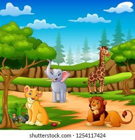 Happy animals cartoon on the nature scene