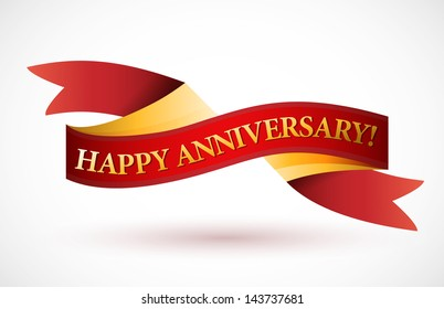happy anniversary red waving ribbon banner illustration design over white