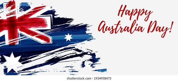Happy Australia Day. Holiday banner with abstract grunge brushed Australia flag.