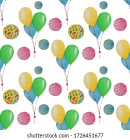 Happy baby party seamless pattern with colored balloons and balls(yellow,blue, green, pink).Watercolor illustration.For holiday packaging,wrapping paper,wallpaper,  children's textiles,beddin,fabrics.