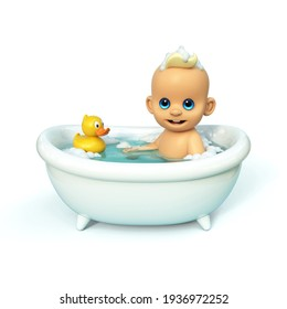 Happy baby taking a bath playing with rubber duck. Little child in a bathtub. Infant washing and bathing. Hygiene and care for young children 3d rendering on white background