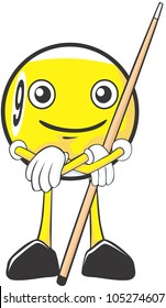 Happy Billiards Nine Ball Player Illustration