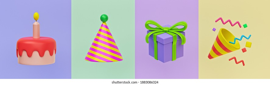 happy birthday 3d icons. birthday cake, hat, gift and Party Popper. minimal colorful design for greeting card. 3d rendering